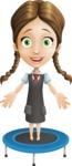 School Girl with Uniform Cartoon Vector Character AKA Viola - Trampoline