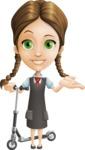 School Girl with Uniform Cartoon Vector Character AKA Viola - Scooter