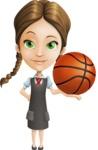 School Girl with Uniform Cartoon Vector Character AKA Viola - Basketball