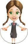 School Girl with Uniform Cartoon Vector Character AKA Viola - Skipping Rope