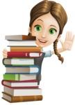 School Girl with Uniform Cartoon Vector Character AKA Viola - Books