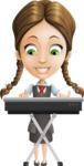 School Girl with Uniform Cartoon Vector Character AKA Viola - Music 1