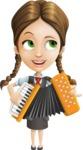 School Girl with Uniform Cartoon Vector Character AKA Viola - Music 2