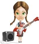 School Girl with Uniform Cartoon Vector Character AKA Viola - Music 4