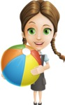School Girl with Uniform Cartoon Vector Character AKA Viola - Beach 1