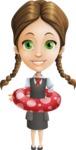 School Girl with Uniform Cartoon Vector Character AKA Viola - Beach 2