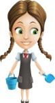 School Girl with Uniform Cartoon Vector Character AKA Viola - Beach 3