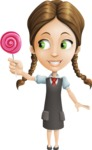 School Girl with Uniform Cartoon Vector Character AKA Viola - Candy