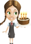 School Girl with Uniform Cartoon Vector Character AKA Viola - Party 2