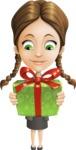 School Girl with Uniform Cartoon Vector Character AKA Viola - Gift