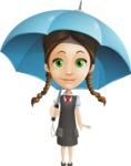 School Girl with Uniform Cartoon Vector Character AKA Viola - Umbrella