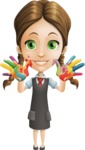 School Girl with Uniform Cartoon Vector Character AKA Viola - Colored Hands
