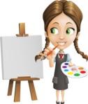 School Girl with Uniform Cartoon Vector Character AKA Viola - Painting