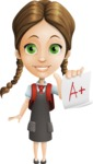 School Girl with Uniform Cartoon Vector Character AKA Viola - Score