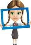 School Girl with Uniform Cartoon Vector Character AKA Viola - Frame
