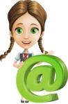 School Girl with Uniform Cartoon Vector Character AKA Viola - Mail