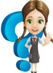 School Girl with Uniform Cartoon Vector Character AKA Viola - Question