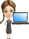 School Girl with Uniform Cartoon Vector Character AKA Viola - Laptop 2