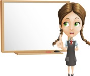 School Girl with Uniform Cartoon Vector Character AKA Viola - Presentation 3