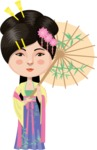 Chinese Girl with Flowers and Umbrella