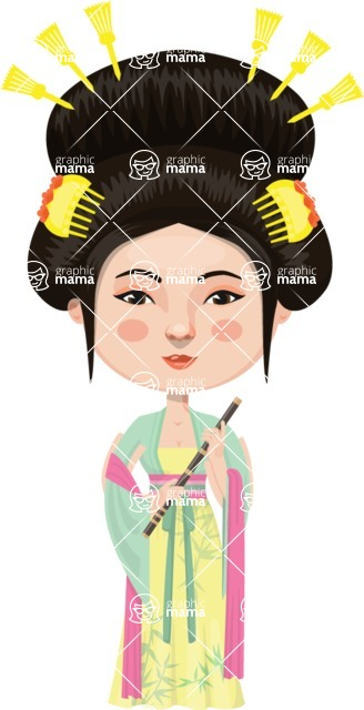 Asian People Vector Cartoon Graphics Maker - Chinese Woman in Traditional Clothing