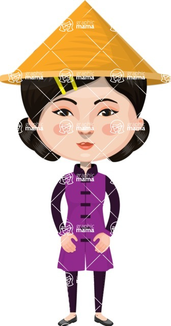 Asian People Vector Cartoon Graphics Maker - Chinese Woman with Hat
