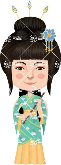 Asian People Vector Cartoon Graphics Maker - Delicate Chinese Woman