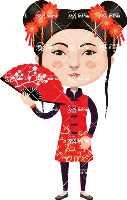 Asian People Vector Cartoon Graphics Maker - Chinese Girl in Red