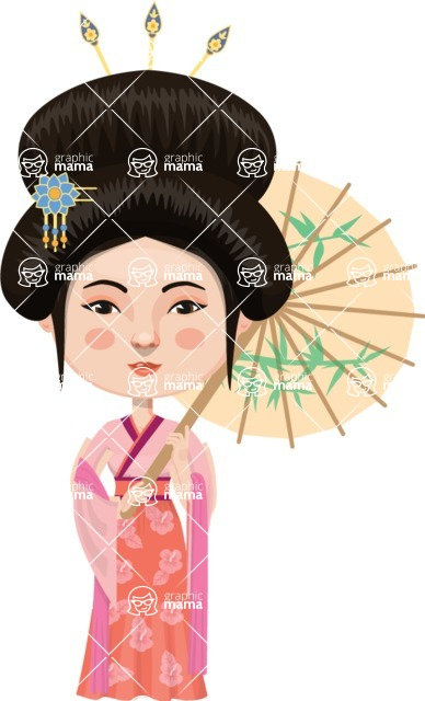 Asian People Vector Cartoon Graphics Maker - Elegant Chinese Lady
