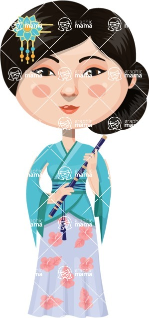 Asian People Vector Cartoon Graphics Maker - Chinese Girl Playing Music