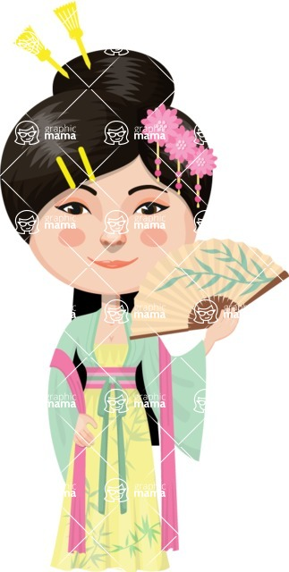 Asian People Vector Cartoon Graphics Maker - Chinese Girl with Spread Fan