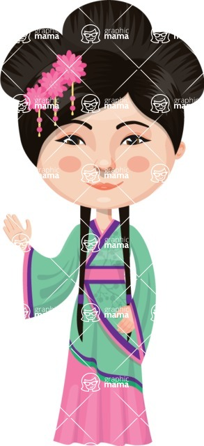 Asian People Vector Cartoon Graphics Maker - Chinese Woman Waving
