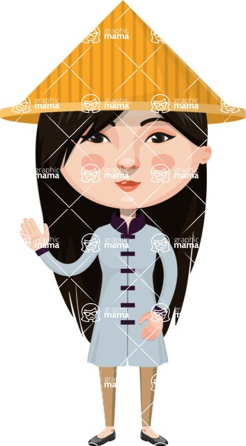 Asian People Vector Cartoon Graphics Maker - Chinese with Hat Waving