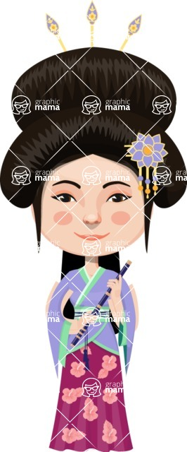 Asian People Vector Cartoon Graphics Maker - Chinese in Traditional Clothing