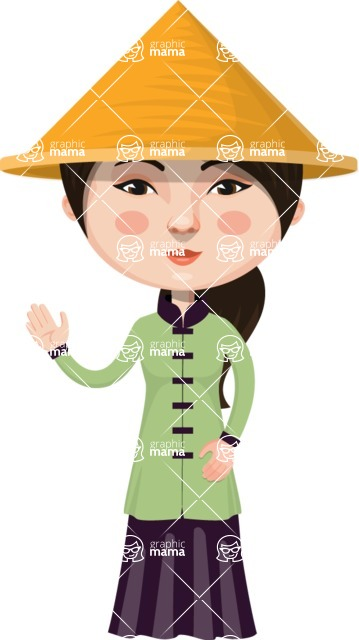Asian People Vector Cartoon Graphics Maker - Chinese with Conical Hat