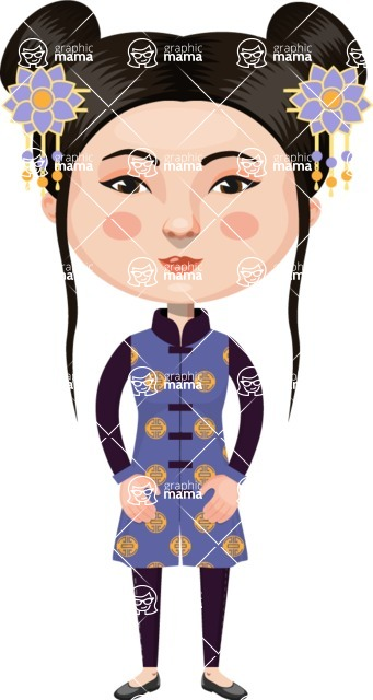 Asian People Vector Cartoon Graphics Maker - Chinese Girl with Flowers
