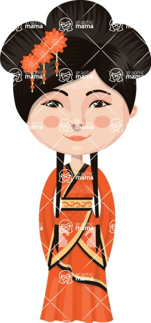 Asian People Vector Cartoon Graphics Maker - Chinese in Long Dress