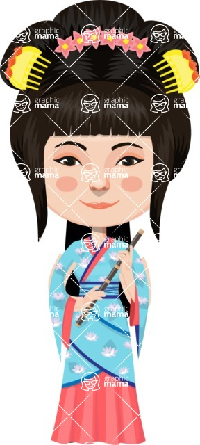 Asian People Vector Cartoon Graphics Maker - Chinese Woman in Traditional Costume