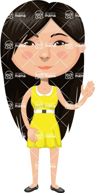 Asian People Vector Cartoon Graphics Maker - Chinese Girl in Bright Dress