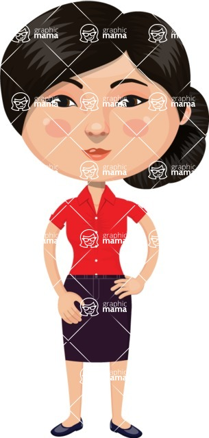 Asian People Vector Cartoon Graphics Maker - Business Chinese Woman