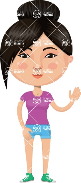 Asian People Vector Cartoon Graphics Maker - Sporty Chinese Girl