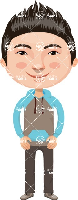 Asian People Vector Cartoon Graphics Maker - Chinese Guy with Sweatshirt