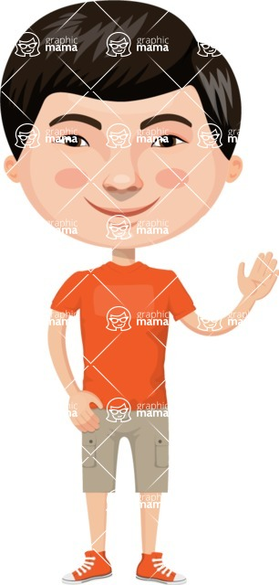 Asian People Vector Cartoon Graphics Maker - Chinese Boy with Shorts