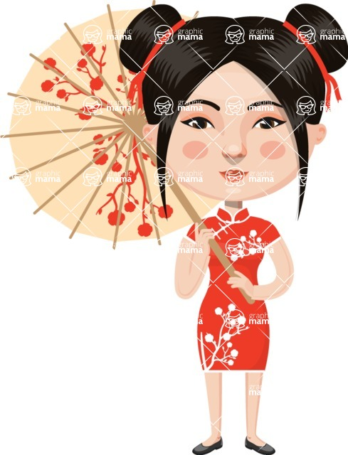 Asian People Vector Cartoon Graphics Maker - Chinese Girl with Umbrella