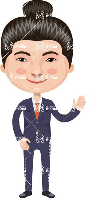 Asian People Vector Cartoon Graphics Maker - Chinese Business Man with Hairbun