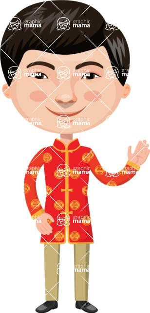 Asian People Vector Cartoon Graphics Maker - Chinese Man in Traditional Clothing