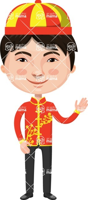 Asian People Vector Cartoon Graphics Maker - Chinese Boy with Hat