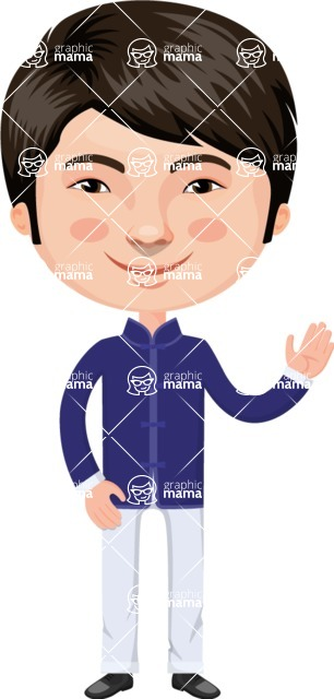 Asian People Vector Cartoon Graphics Maker - Chinese Guy with Bright Jacket