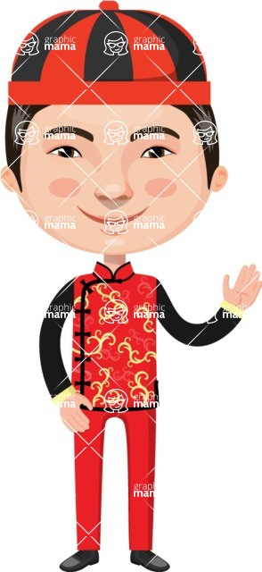 Asian People Vector Cartoon Graphics Maker - Chinese Guy in Red Costume