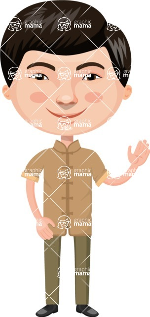 Asian People Vector Cartoon Graphics Maker - Chinese in Simple Clothing